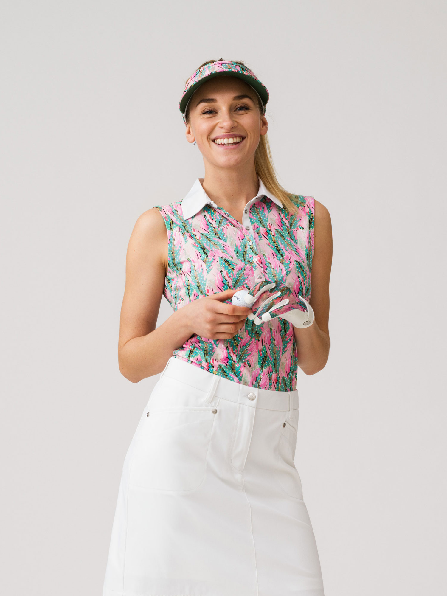 Ebba sleeveless mesh polo shirt