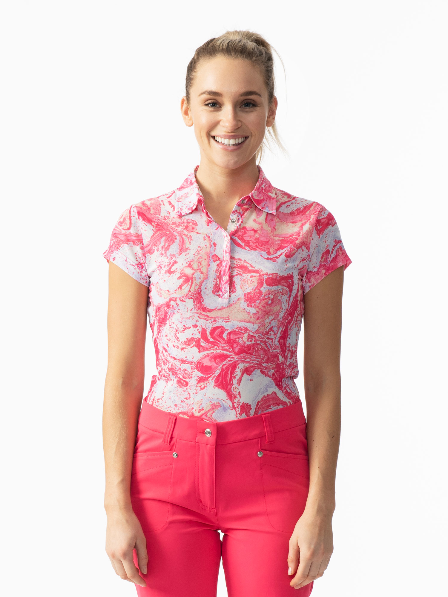 Adelina Short-sleeved Mesh Polo Shirt